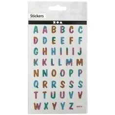 Stickers pailletés - Lettres - 1,2 cm - 48 pcs