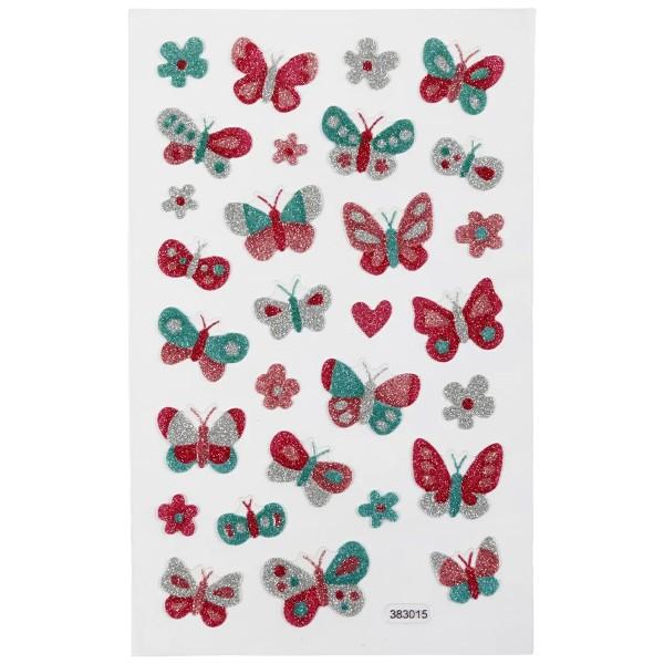 Stickers pailletés - Papillons - 0,9 à 2,5 cm - 29 pcs - Photo n°2