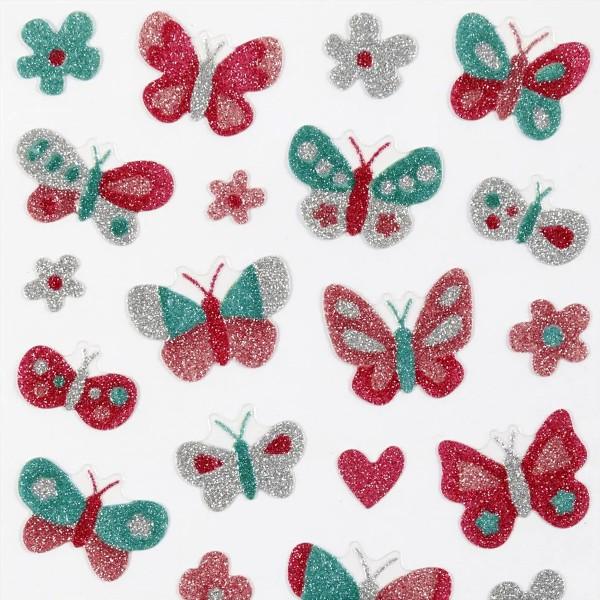 Stickers pailletés - Papillons - 0,9 à 2,5 cm - 29 pcs - Photo n°3