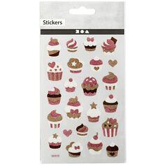 Stickers pailletés - Cupcakes - 1 à 2,4 cm - 22 pcs