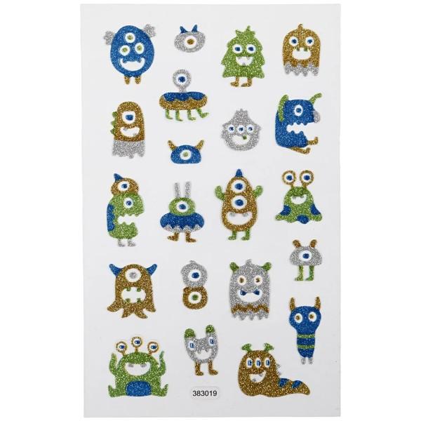Stickers pailletés - Monstres - 0,5 à 2,8 cm - 21 pcs - Photo n°2