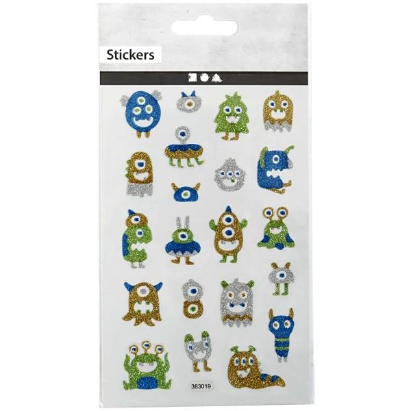 Stickers pailletés - Monstres - 0,5 à 2,8 cm - 21 pcs - Photo n°1