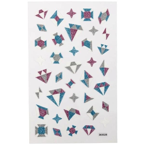 Stickers pailletés - Diamants - 1,2 à 2 cm - 38 pcs - Photo n°2