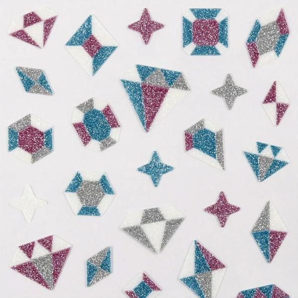 Stickers pailletés - Diamants - 1,2 à 2 cm - 38 pcs - Photo n°3