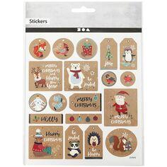 Stickers Kraft effet foil argenté - Étiquette de Noël - 1,8 à 4,3 cm - 19 pcs