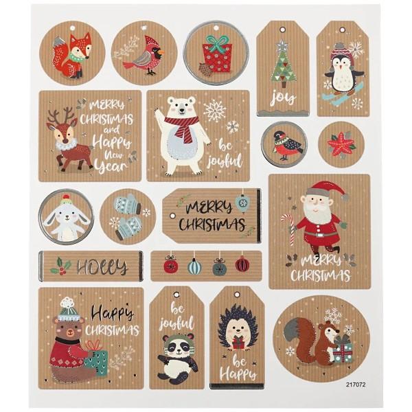 Stickers Kraft effet foil argenté - Étiquette de Noël - 1,8 à 4,3 cm - 19 pcs - Photo n°2