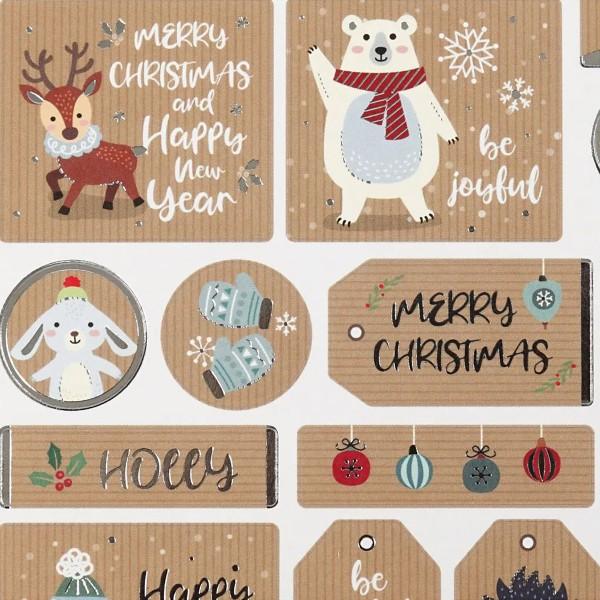 Stickers Kraft effet foil argenté - Étiquette de Noël - 1,8 à 4,3 cm - 19 pcs - Photo n°3