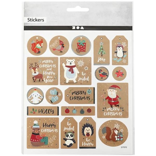 Stickers Kraft effet foil argenté - Étiquette de Noël - 1,8 à 4,3 cm - 19 pcs - Photo n°1