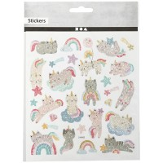 Stickers - Chats licornes - 1 à 4,5 cm - 26 pcs