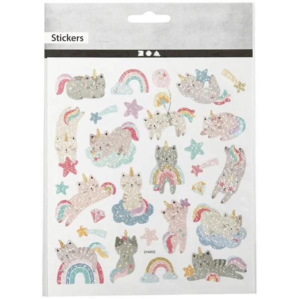 Stickers - Chats licornes - 1 à 4,5 cm - 26 pcs - Photo n°1