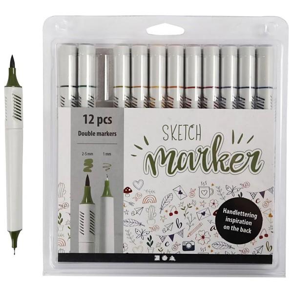 Feutres de dessin double pointe Sketch Maker - Coloris basiques - 12 pcs - Photo n°1