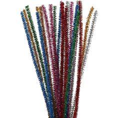 Assortiment fil chenille brillant - Multicolore - 6 mm - 30 cm - 24 pcs
