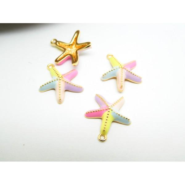 2 Breloques étoile de mer 13*14mm plaqué or et émail couleurs pastels - Photo n°2