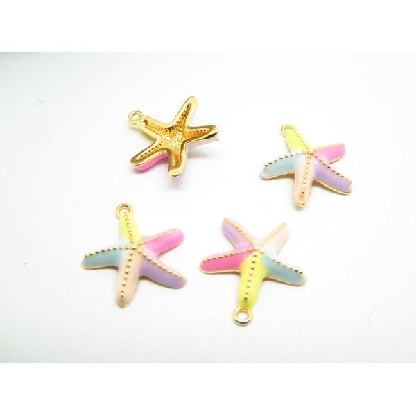 2 Breloques étoile de mer 13*14mm plaqué or et émail couleurs pastels - Photo n°1