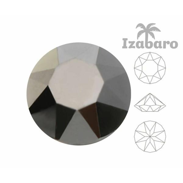 10 pièces Izabaro Cristal Hématite 280hem Rond Chaton Verre Cristaux 1088 Ss 39 Izabaro Pierre Facet - Photo n°2