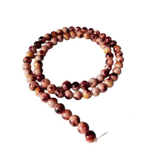 Fil de 60 perles ronde naturelle en jade blanche teintée fabrication bijoux 6 mm MARRON - Photo n°1