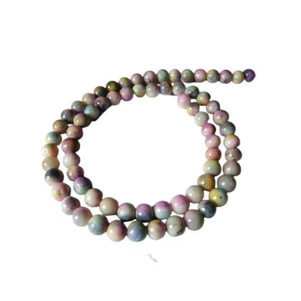 Fil de 60 perles ronde naturelle en jade blanche teintée fabrication bijoux 6 mm PASTEL - Photo n°1