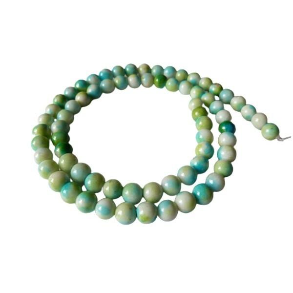 Fil de 60 perles ronde naturelle en jade blanche teintée fabrication bijoux 6 mm BLEU VERT - Photo n°1