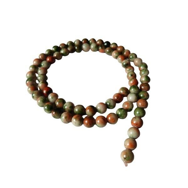 Fil de 60 perles ronde naturelle en jade blanche teintée fabrication bijoux 6 mm ORANGE VERT - Photo n°1
