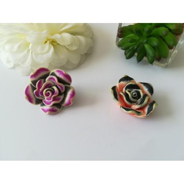 Perles fleurs 30 mm pâte polymère x 2 saumon et violet - Photo n°1