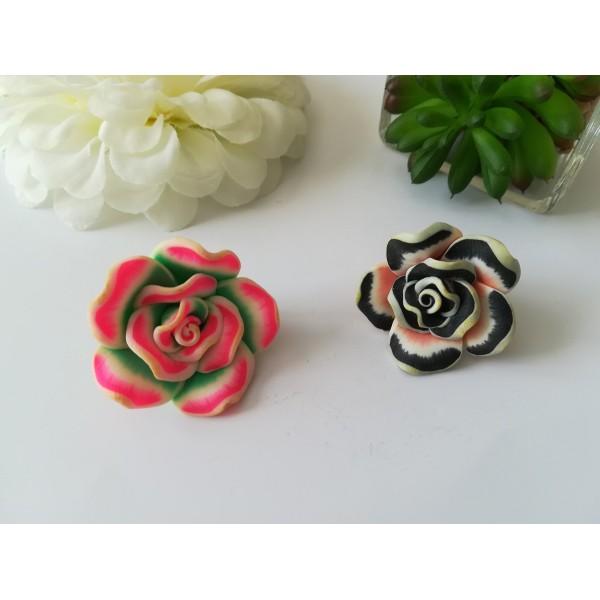 Perles fleurs 30 mm pâte polymère x 2 rose et noir - Photo n°1