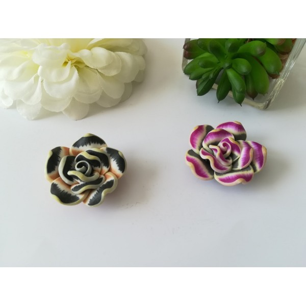 Perles fleurs 30 mm pâte polymère x 2 mauve et noir - Photo n°1