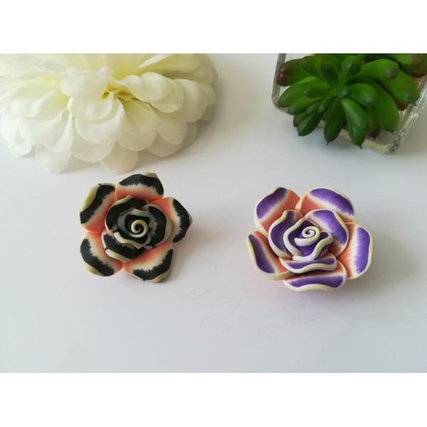 Perles fleurs 30 mm pâte polymère x 2 violet et noir - Photo n°1