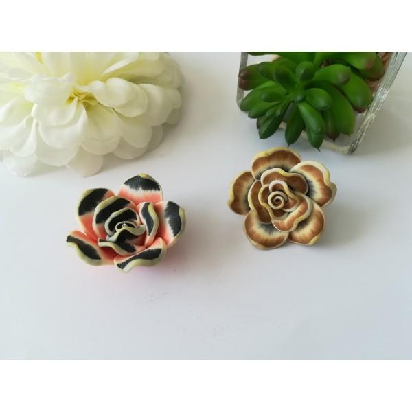 Perles fleurs 30 mm pâte polymère x 2 marron et saumon - Photo n°1