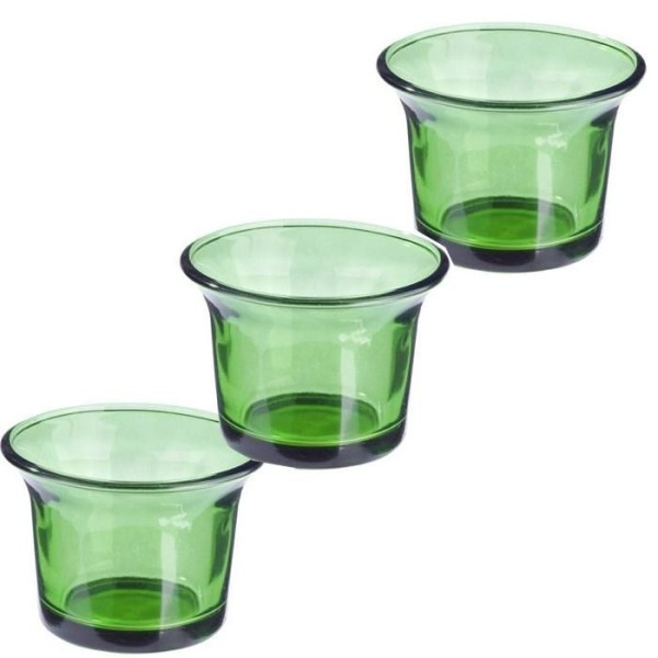 6 Photophores en verre vert foncé - Photo n°1