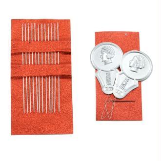 Blister 12 aiguilles + 2 enfileur de perles 0.42x54mm  pour tissage de perles, métier à tisser