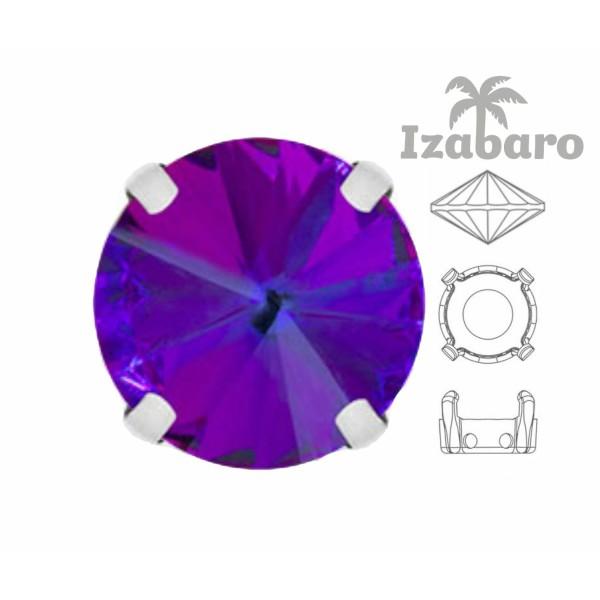 4 pièces Izabaro Cristal Héliotrope Violet 001hel Rond Rivoli 12mm Verre Cristal, Couleur Argent Cou - Photo n°2