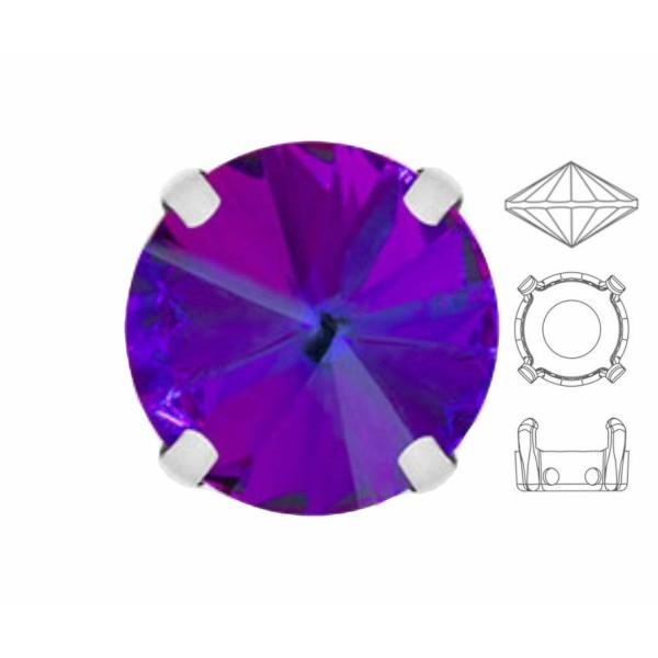 4 pièces Izabaro Cristal Héliotrope Violet 001hel Rond Rivoli 12mm Verre Cristal, Couleur Argent Cou - Photo n°1