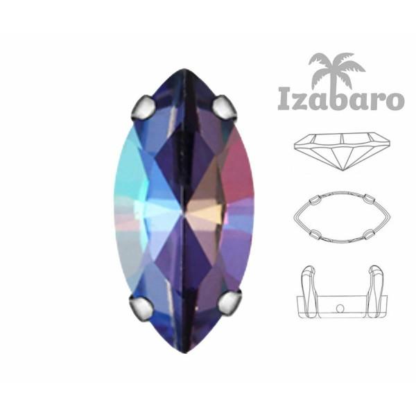 6 pièces Izabaro Cristal Tanzanite Arc-en-Ciel 539rb Navette Fantaisie Pierre 7x15mm Verre Cristal, - Photo n°2
