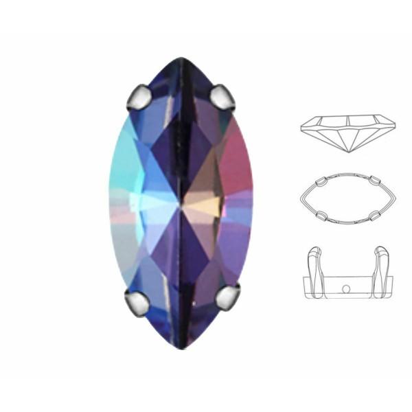 6 pièces Izabaro Cristal Tanzanite Arc-en-Ciel 539rb Navette Fantaisie Pierre 7x15mm Verre Cristal, - Photo n°1