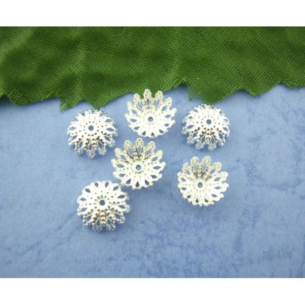Coupelles fleur filigrane 9 mm argenté x 30 - Photo n°1