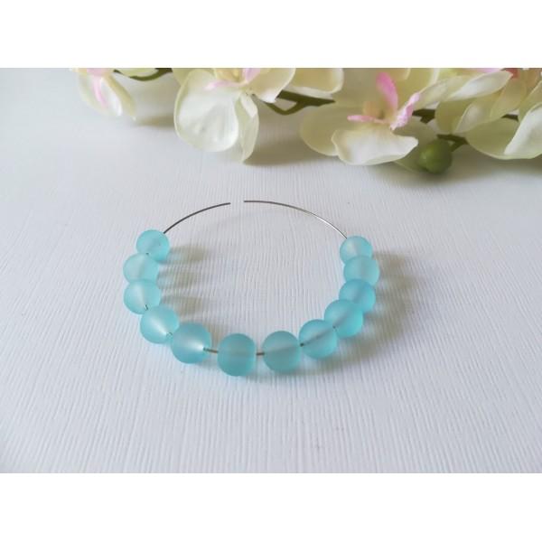 Perles en verre dépoli 8 mm bleu ciel x 20 - Photo n°2