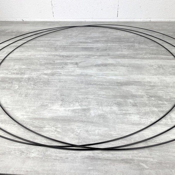 Gros lot de 3 Grands Cercles XXL métalliques noir, diam. 100 cm pour abat-jour, Anneaux epoxy Attrap - Photo n°2
