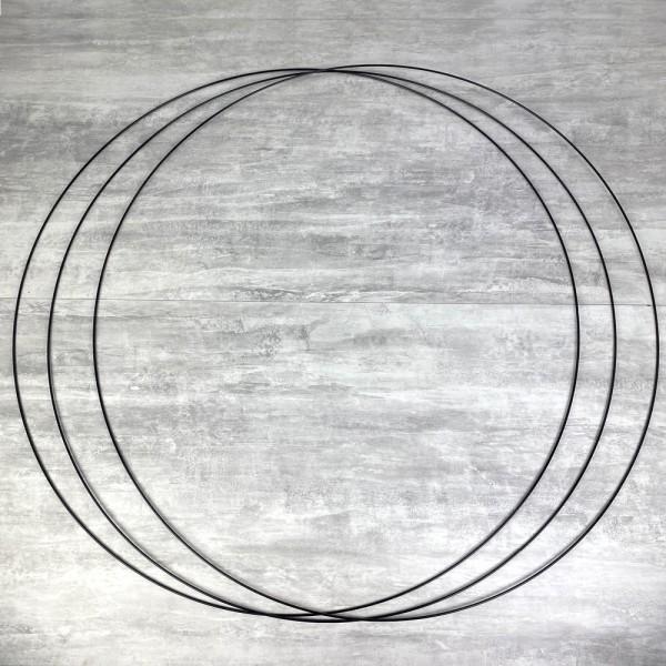 Gros lot de 3 Grands Cercles XXL métalliques noir, diam. 100 cm pour abat-jour, Anneaux epoxy Attrap - Photo n°1