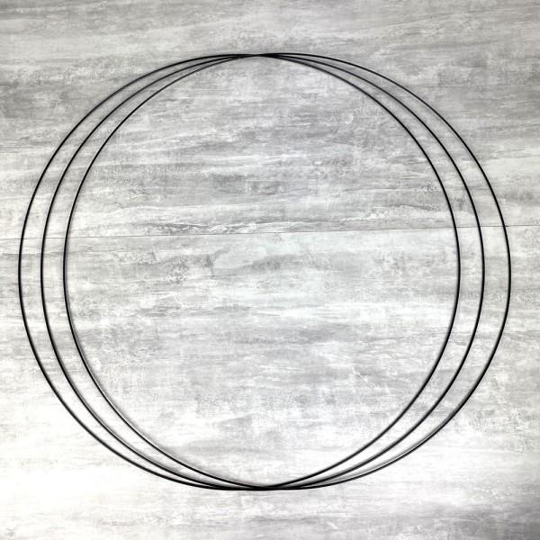 Gros lot de 3 Grands Cercles métalliques noir, diam. 90 cm pour abat-jour, Anneaux epoxy Attrape rêv - Photo n°1