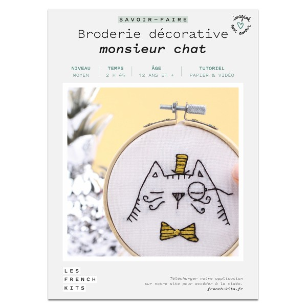 NOUV French Kits Broderie décorative Monsieur Chat - Photo n°2
