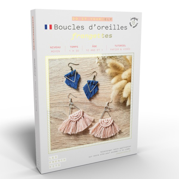 French Kits Macramé - Boucles d'oreilles Frange - - Photo n°1