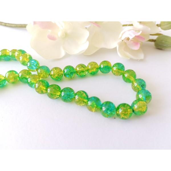 Perles en verre craquelé 8 mm vert et jaune x 20 - Photo n°1