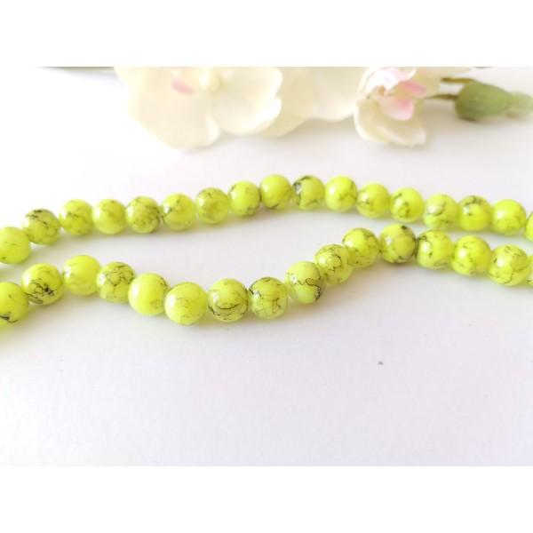 Perles en verre 8 mm jaune fluo tréfilé noir x 20 - Photo n°1