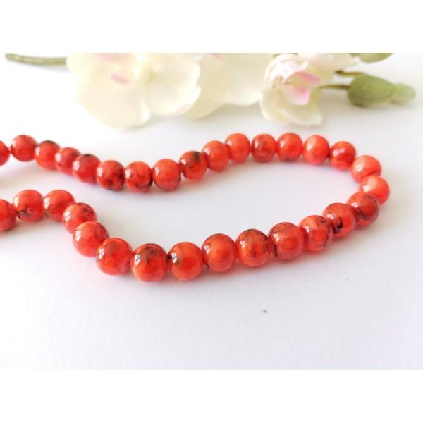 Perles en verre 8 mm orange fluo tréfilé noir x 20 - Photo n°1