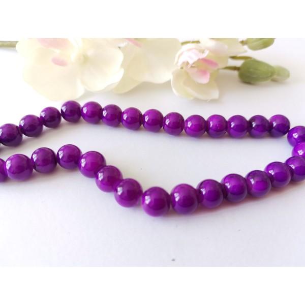 Perles en verre 8 mm violet tréfilé noir x 20 - Photo n°1