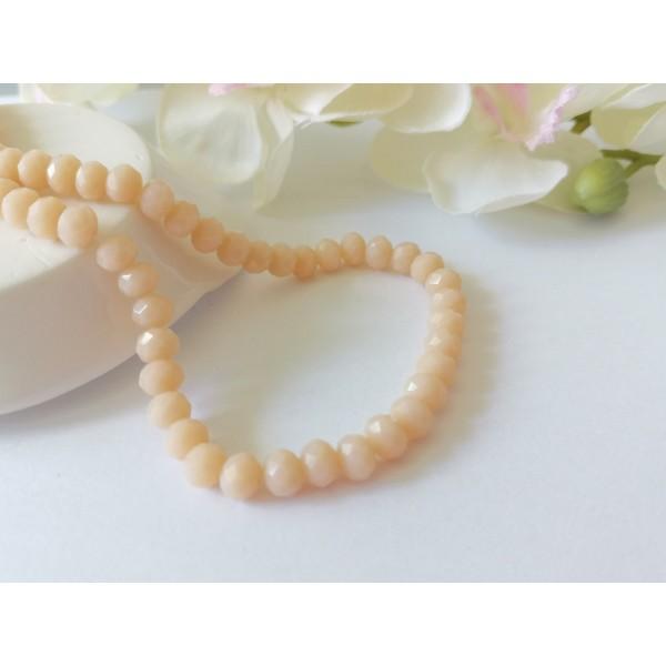 Perles en verre à facette 6 x 4 mm saumon clair x 23 - Photo n°1