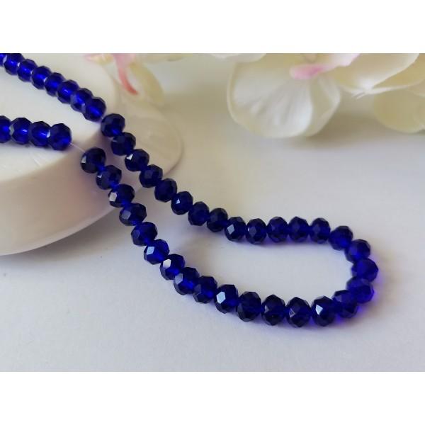 Perles en verre à facette 6 x 4 mm bleu nuit x 23 - Photo n°1