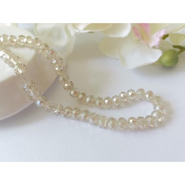 Perles en verre à facette 6 x 4 mm beige x 23 - Photo n°1