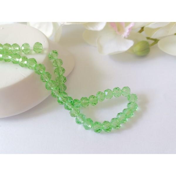Perles en verre à facette 6 x 4 mm vert clair x 23 - Photo n°1
