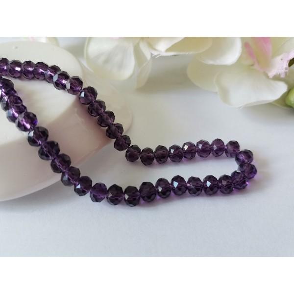 Perles en verre à facette 6 x 4 mm violet indigo x 23 - Photo n°1